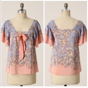 Anthropologie LIL Approaching Sunset Silk Top